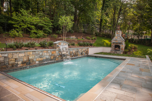 Custom in-ground pool and landscaping by Chryssa Wolfe with Hanlon Design
